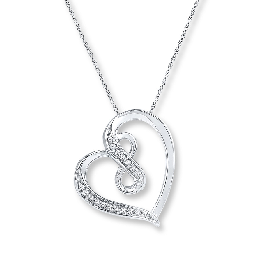 Infinity Heart Necklace 1/20 Ct Tw Diamonds Sterling Silver With Latest Ribbon Open Heart Necklaces (View 5 of 25)