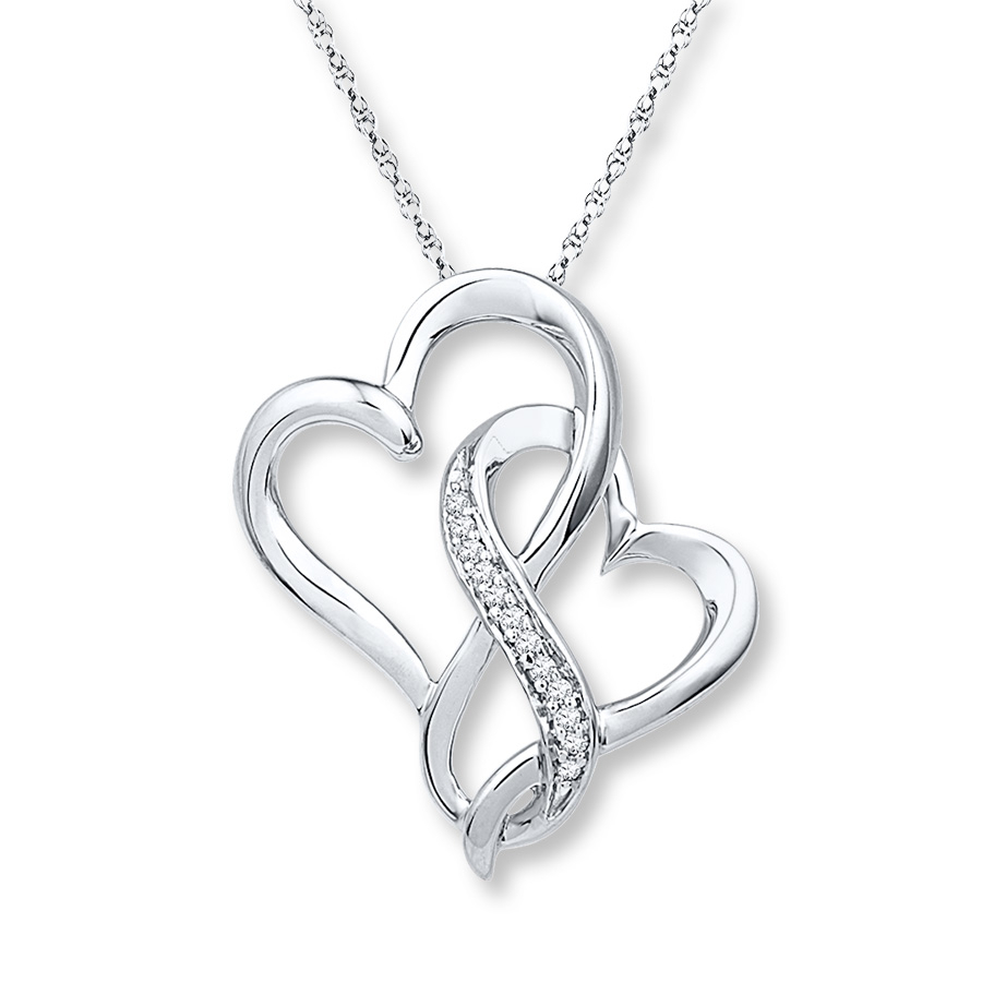 Infinity Heart Necklace 1/20 Ct Tw Diamonds Sterling Silver Within Current Open Heart Necklaces (View 8 of 25)