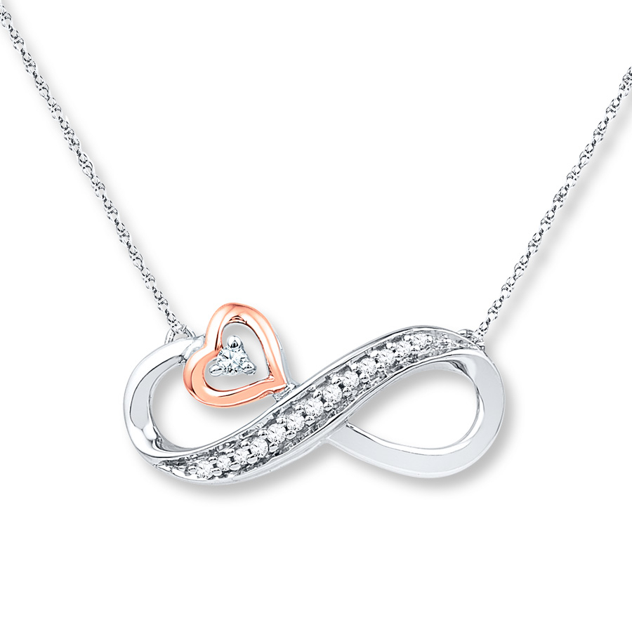 Infinity Necklace 1/20 Ct Tw Diamonds Sterling Silver/10K Gold In Recent Sparkling Infinity Locket Element Necklaces (View 15 of 25)