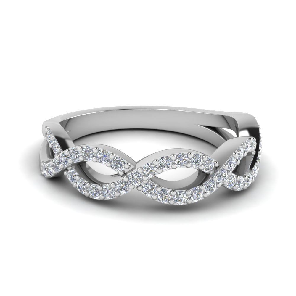 Infinity Twist Wedding Ring With Regard To Most Current Diamond Accent Milgrain Anniversary Bands In White Gold (View 12 of 25)
