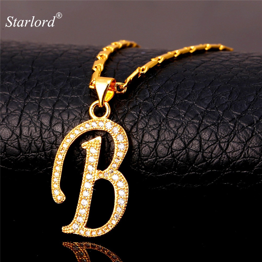 Initial B Letter Pendants & Necklaces Womenmen Personalized Gift Alphabet  Jewelry Gold Color Necklace P1672 Within 2020 Letter B Alphabet Locket Element Necklaces (View 10 of 25)