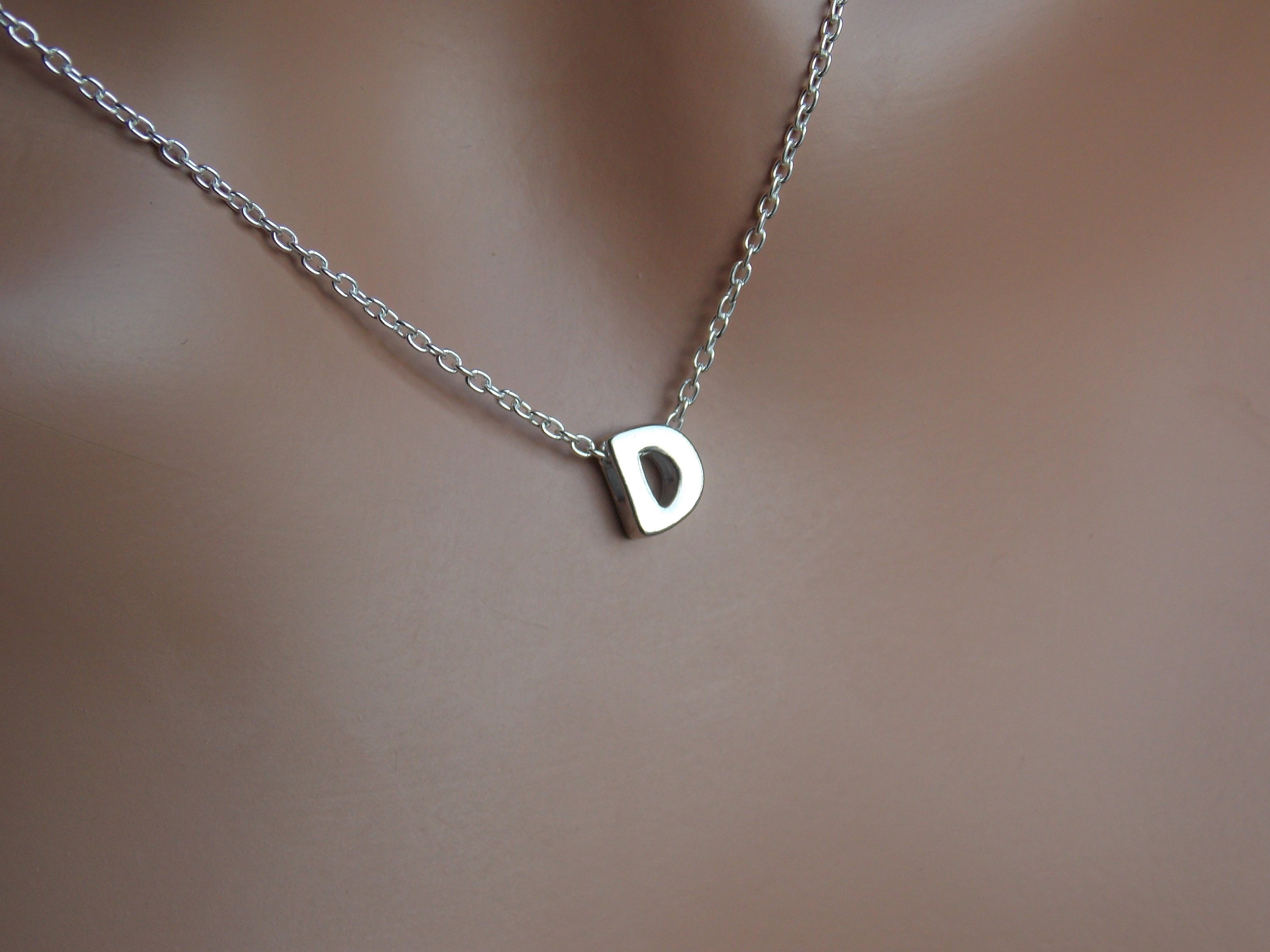Initial D Necklace, Letter D, Letter D Necklace, Monogram D, Letter D  Pendant, D Charm, D Jewelry, Alphabet, Sterling Silver D, Stampsink With Most Recent Letter V Alphabet Locket Element Necklaces (Gallery 8 of 25)