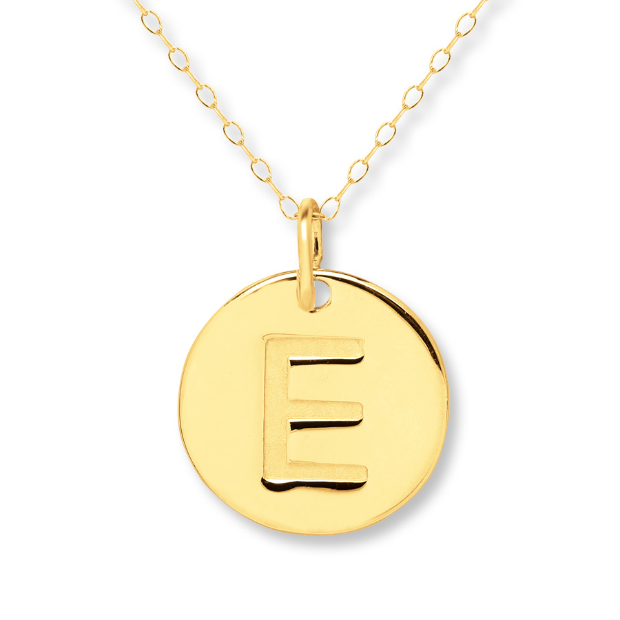 "Initial ""e"" Necklace 14K Yellow Gold – 401357809 – Kay Inside Most Recent Letter E Alphabet Locket Element Necklaces (View 8 of 25)"