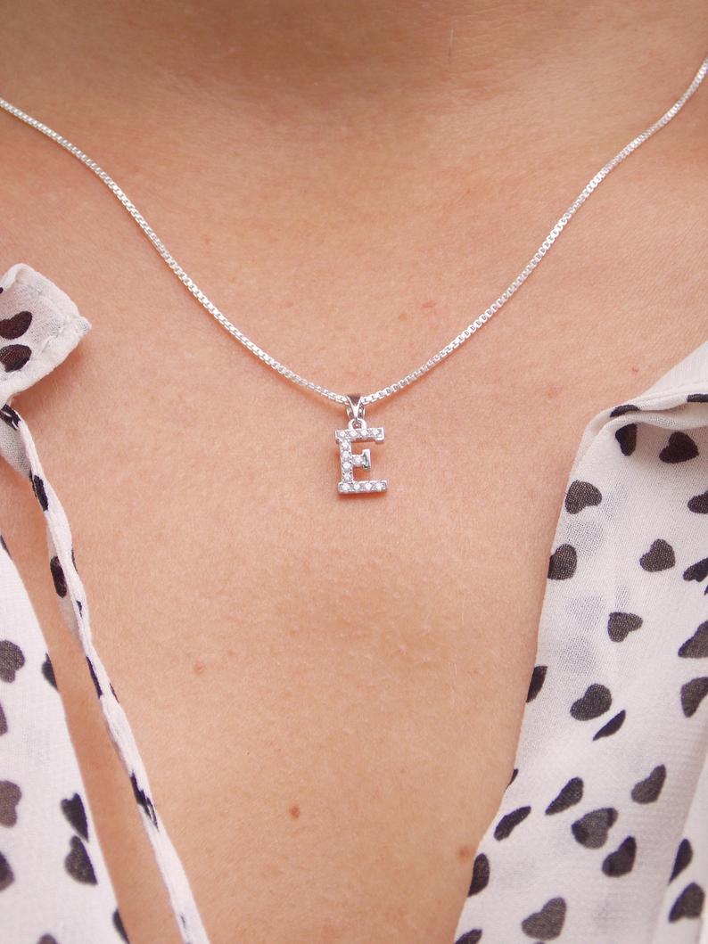 Initial E Necklace, Letter E, Letter E Necklace, Monogram E, Letter E Pendant, E Charm, E Jewelry, Alphabet, Cubic Zirconia, Stampsink Within Latest Letter D Alphabet Locket Element Necklaces (Gallery 16 of 25)