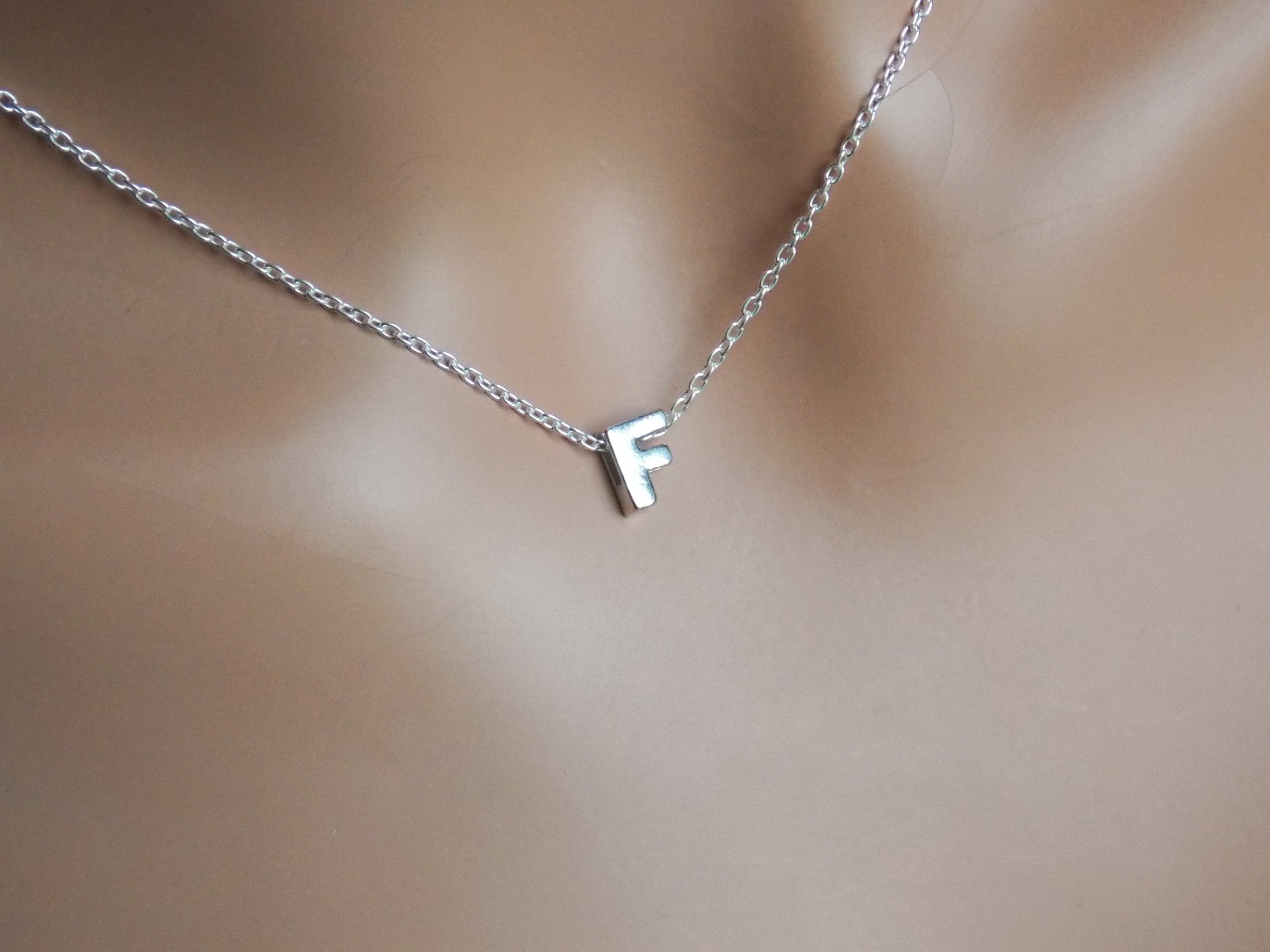 Initial F Necklace, Letter F, Letter F Necklace, Monogram F, Letter F  Pendant, F Charm, F Jewelry, Alphabet, Sterling Silver F, Stampsink With Current Letter F Alphabet Locket Element Necklaces (Gallery 4 of 25)