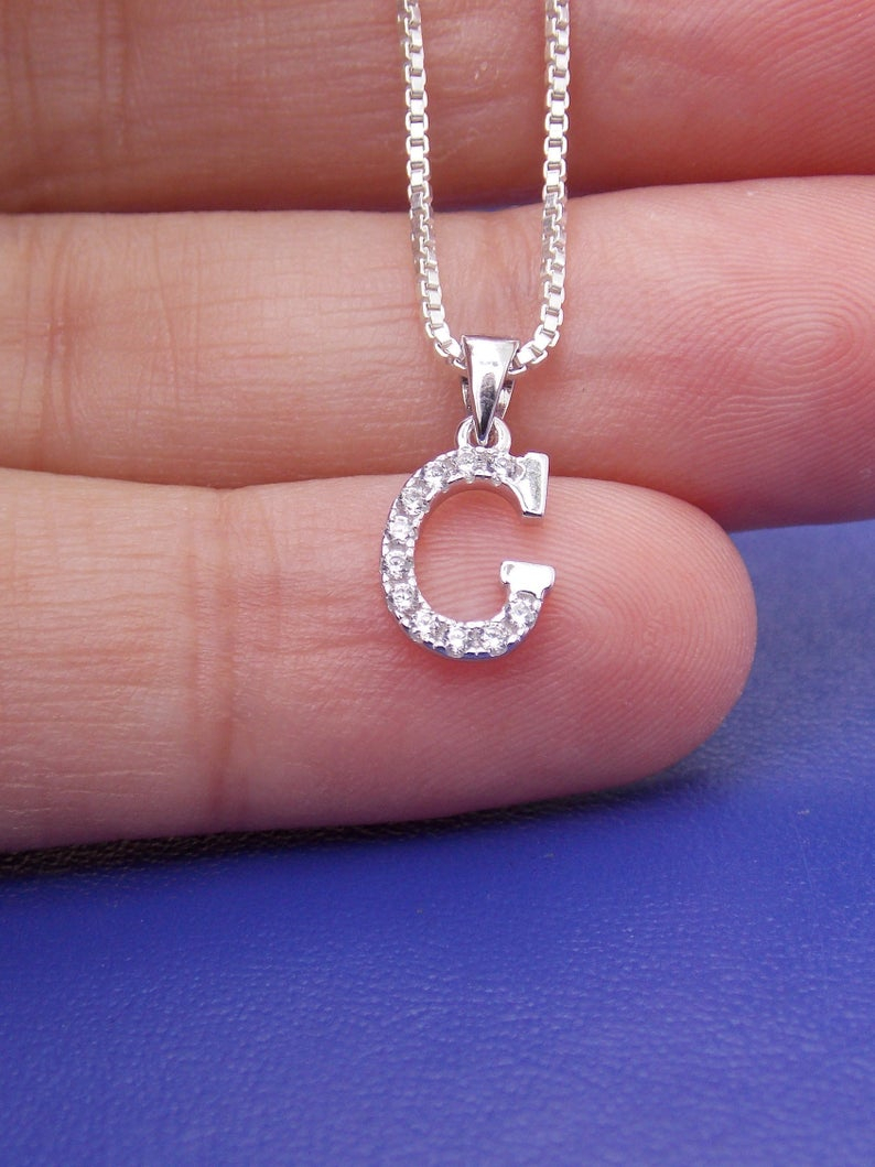 Initial G Necklace, Letter G, Letter G Necklace, Monogram G, Letter G  Pendant, G Charm, G Jewelry, Alphabet, Cubic Zirconia, Stampsink For 2020 Letter X Alphabet Locket Element Necklaces (View 9 of 25)