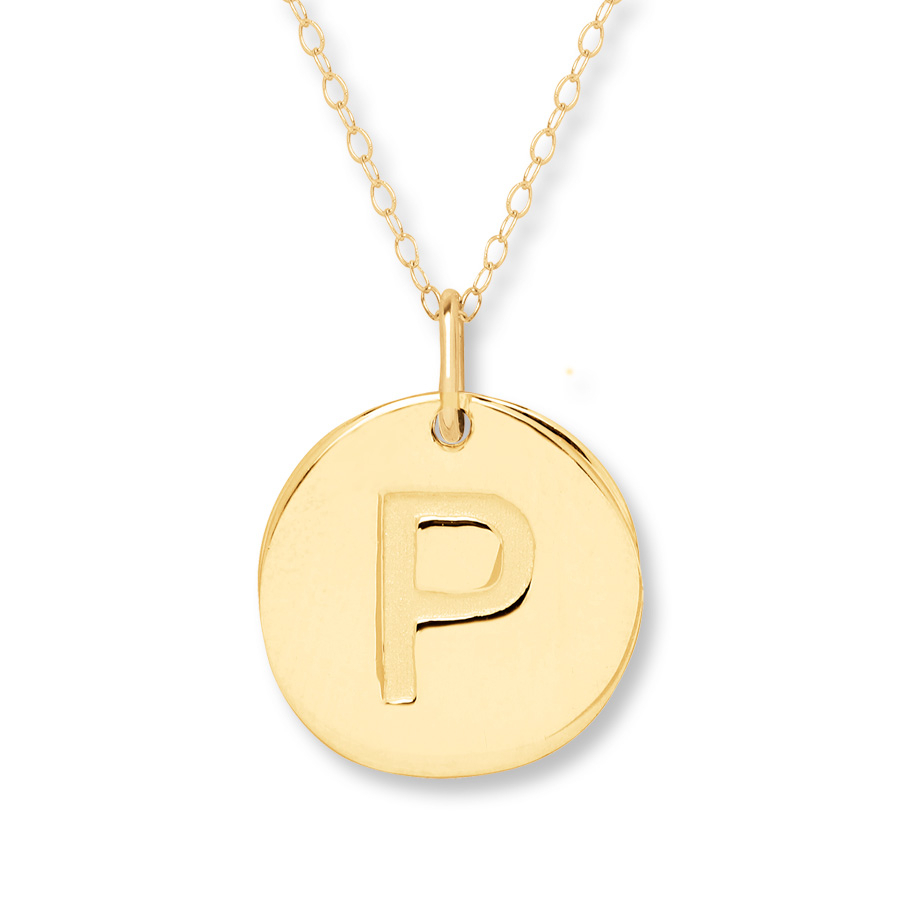 "Initial ""p"" Necklace 14K Yellow Gold – 401358902 – Kay Intended For Newest Letter P Alphabet Locket Element Necklaces (View 8 of 26)"