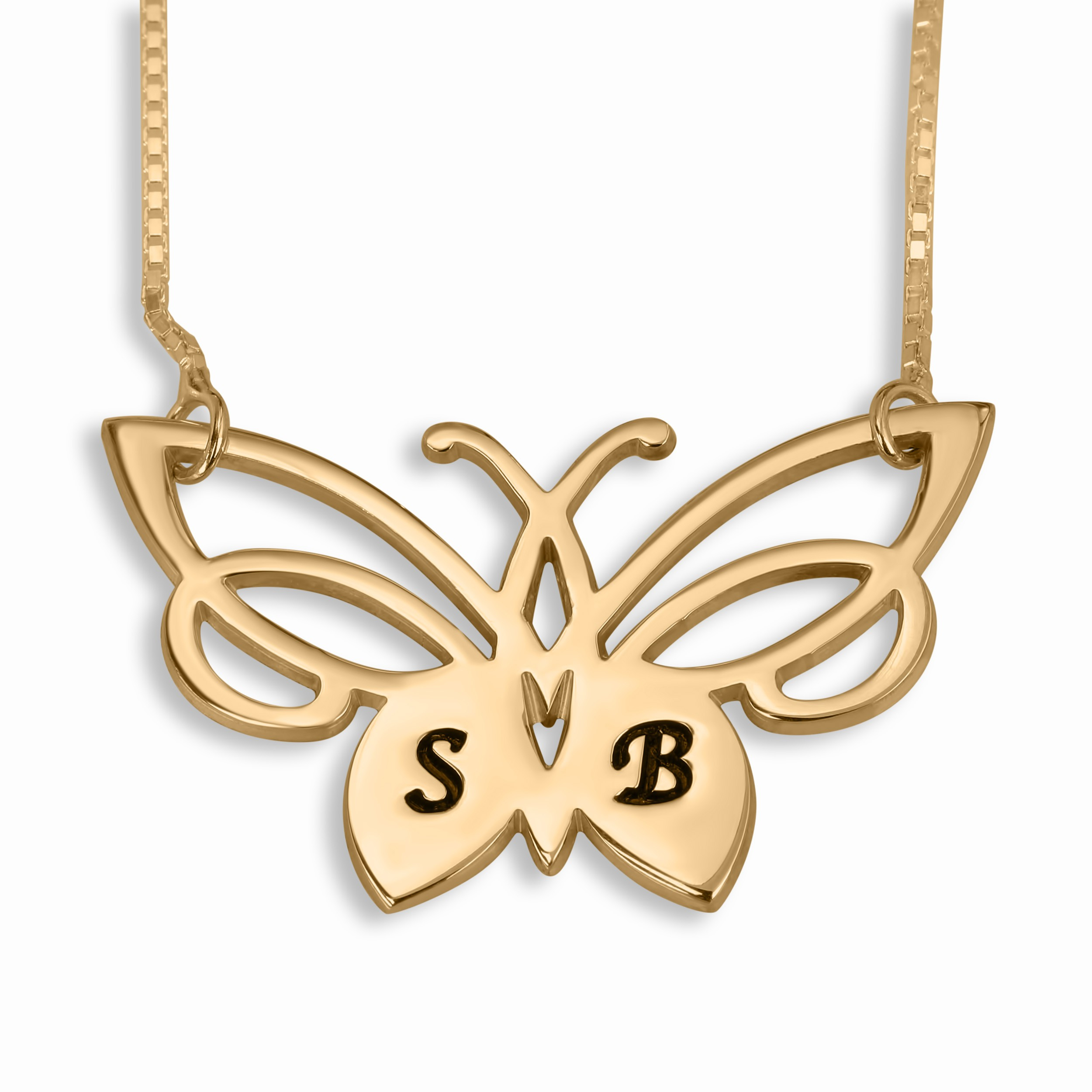 Initials Necklace, Lacy Butterfly, 24K Gold Plated With Regard To Best And Newest Sparkling Butterfly Y  Necklaces (View 15 of 25)