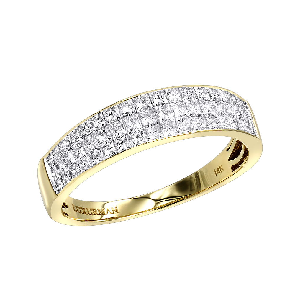 Invisible Princess Cut Diamond Wedding Band For Men 1.33Ct 14K Gold Within Latest Princess Cut And Round Diamond Three Row Anniversary Bands In White Gold (Gallery 5 of 25)