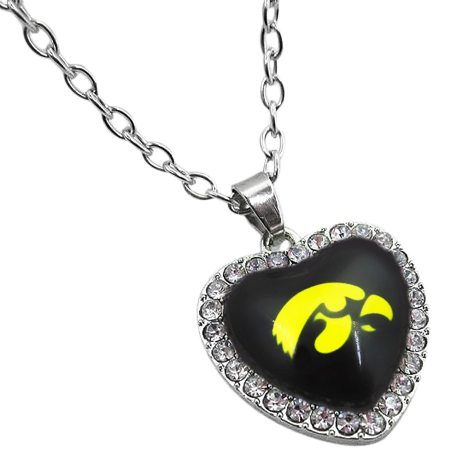 Iowa Hawkeyes Necklace, Simulated Diamond Crystal Heart Pendant, Hawkeyes  Logo Charm, Womens Jewelry Gift For Hawkeyes Fan, Student, Alumni Regarding Most Popular Heart Fan Pendant Necklaces (View 13 of 25)