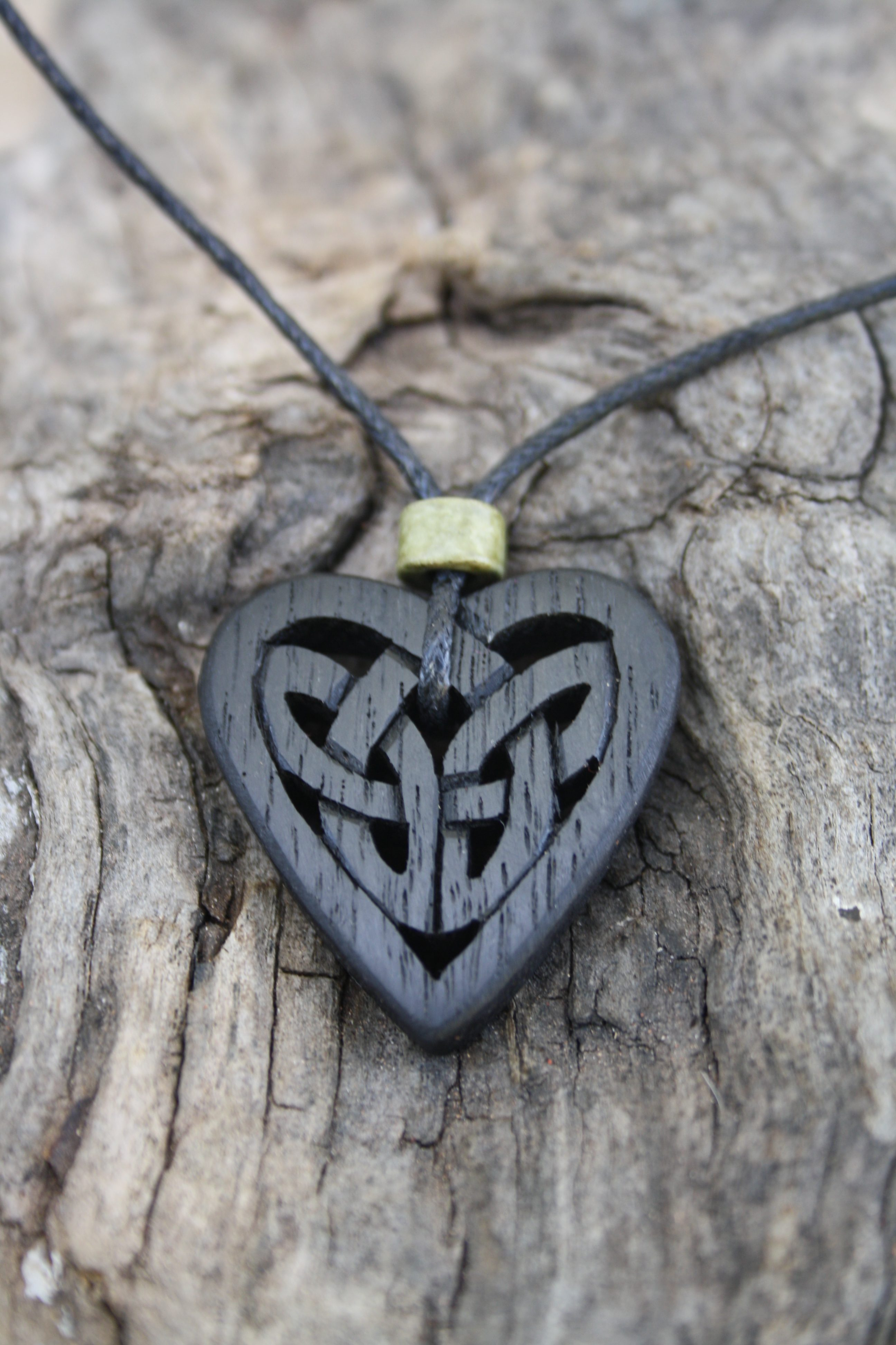 Irish Bog Oak Celtic Knot Heart Necklace Inside Most Recently Released Knotted Heart Pendant Necklaces (Gallery 12 of 25)
