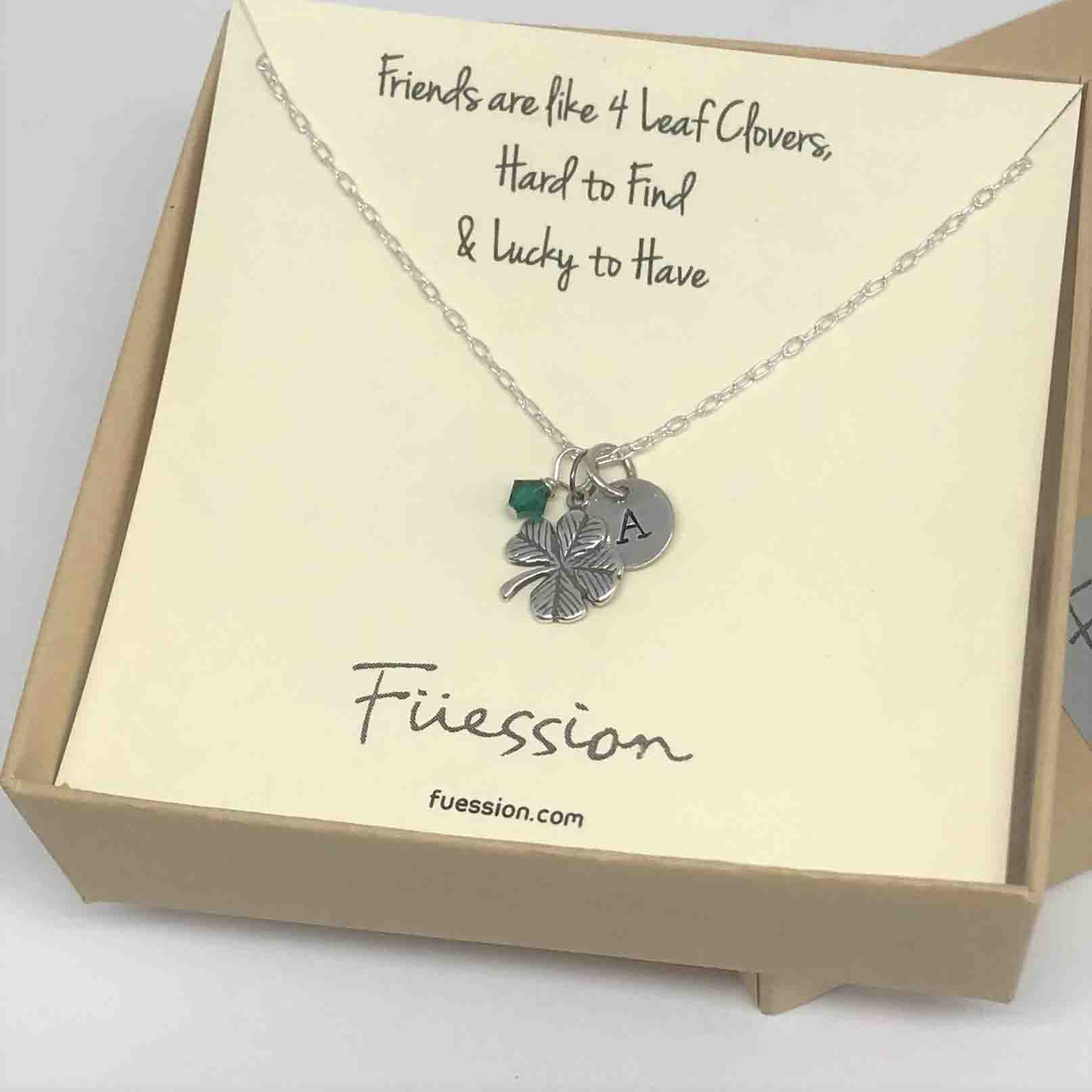 Irish Necklace  Four Leaf Clover Necklace – Personalized Sterling Silver  Jewelry Throughout 2020 Lucky Four Leaf Clover Locket Element Necklaces (Gallery 12 of 25)