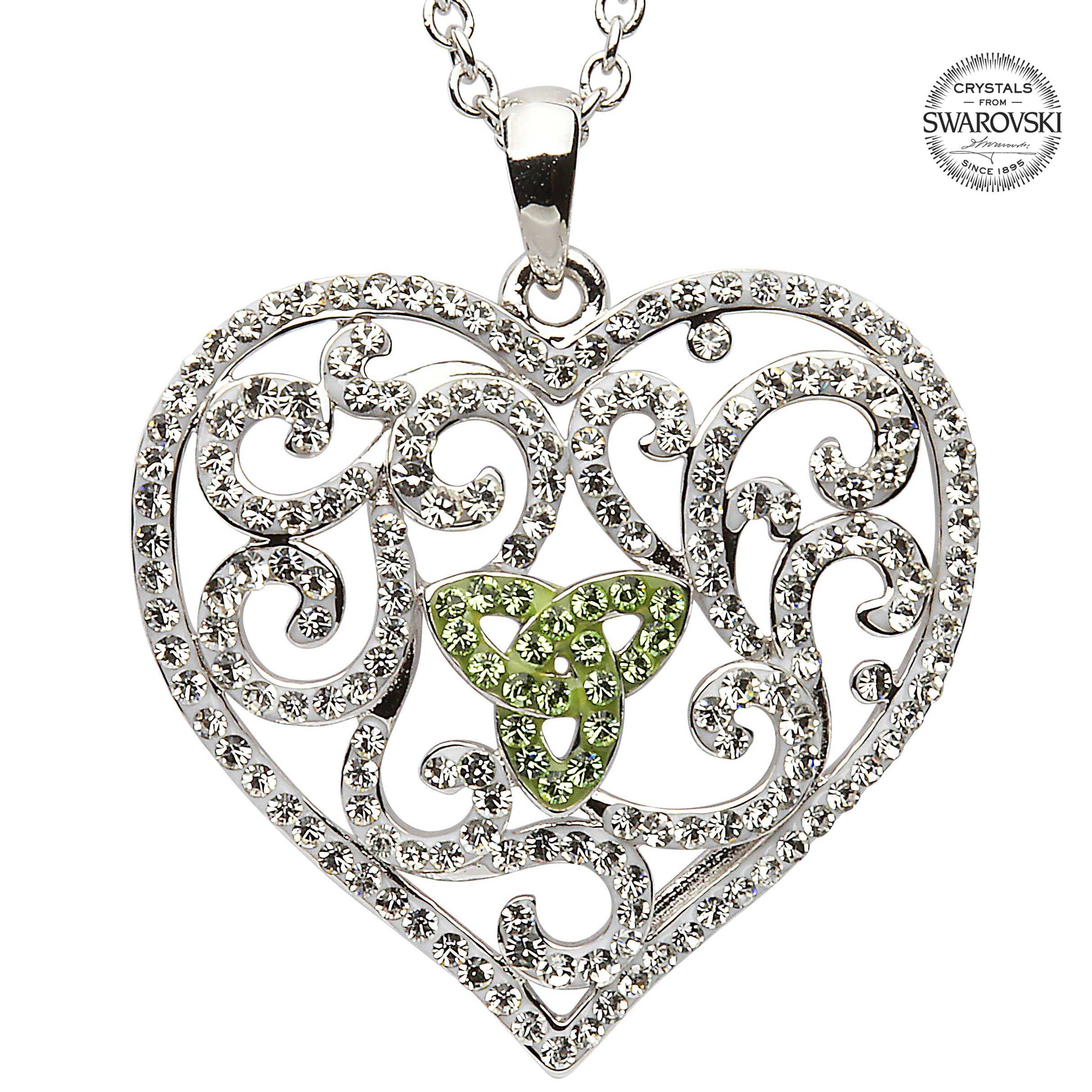 Irish Necklace Trinity Knot Heart Pendant With Green Swarovski Regarding Newest Knotted Heart Pendant Necklaces (View 12 of 25)