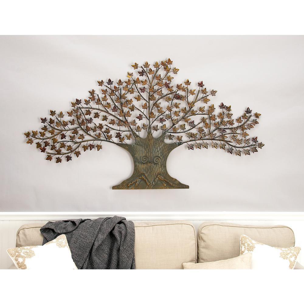 Iron Copper Brown Oak Tree Wall Decor Regarding Newest Oak Leaf Double Rings (View 16 of 25)