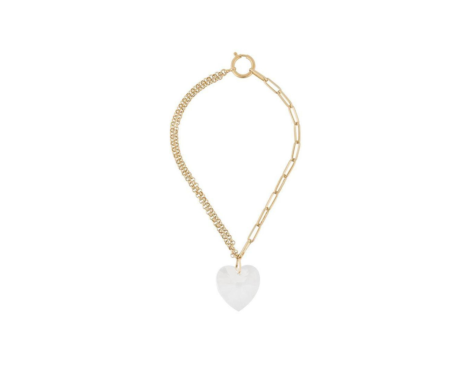 Isabel Marant Crystal Heart Necklace In Metallic – Lyst With Regard To Most Recent Interlocked Hearts Collier Necklaces (View 9 of 25)