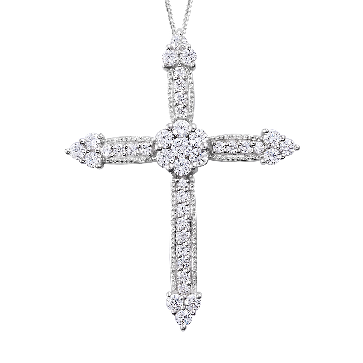 J Francis – Platinum Over Sterling Silver Cross Pendant Necklace (20 In) Made With Swarovski Zirconia (View 7 of 25)
