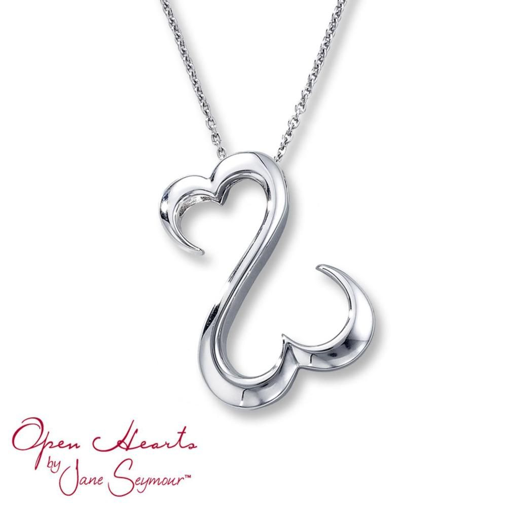 Jane Seymour Open Hearts Necklace Pendant Sterling Silver Free Gift For Most Recently Released Open Heart Necklaces (View 8 of 25)