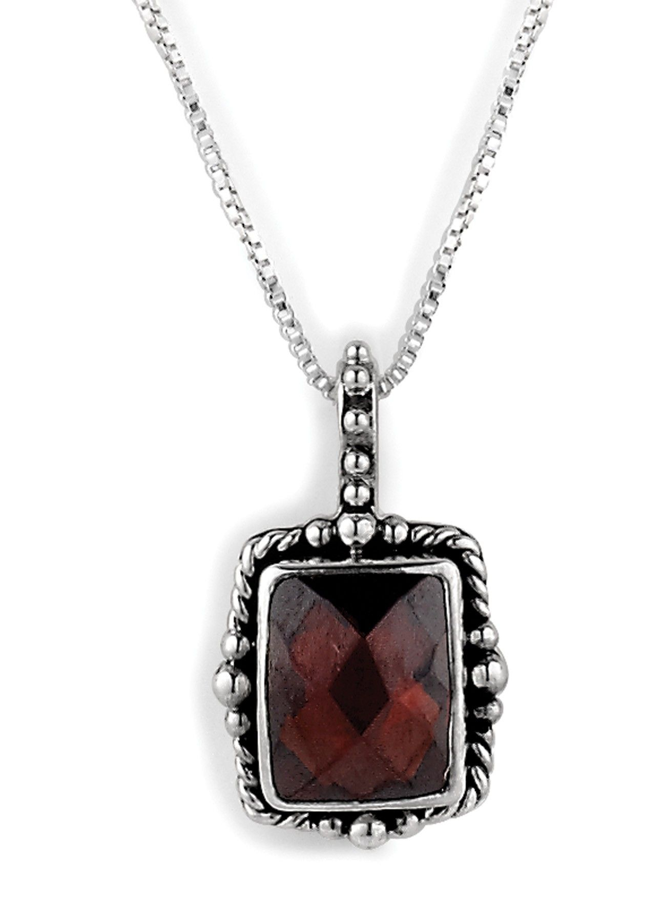 "January ""midnight Kiss"" Birthstone Necklace – Red Terbium, Sterling Inside Most Recent Red July Birthstone Locket Element Necklaces (View 10 of 25)"