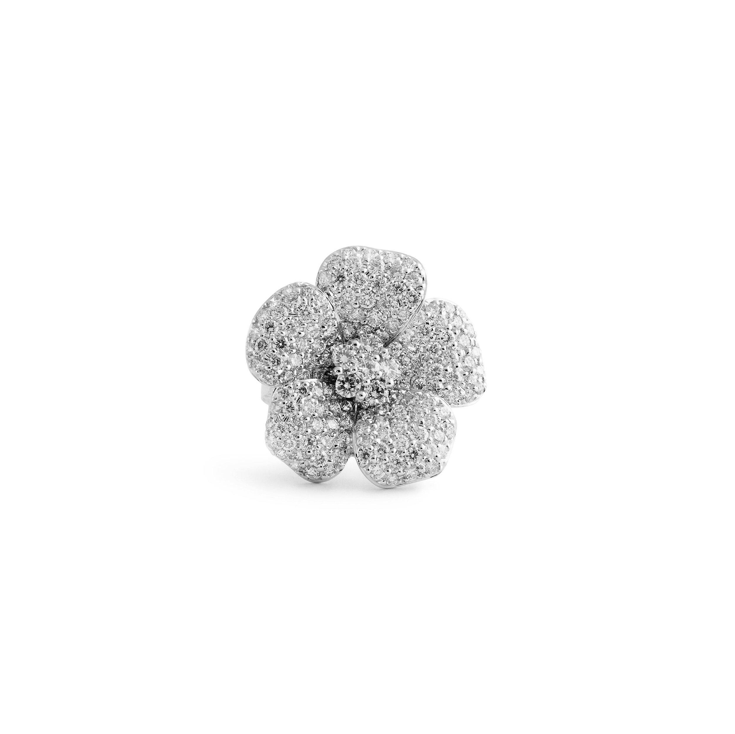 Jewelrymarsha — Flower Shape Pavé Diamond Ring Within 2018 Pavé Flower Rings (View 16 of 25)