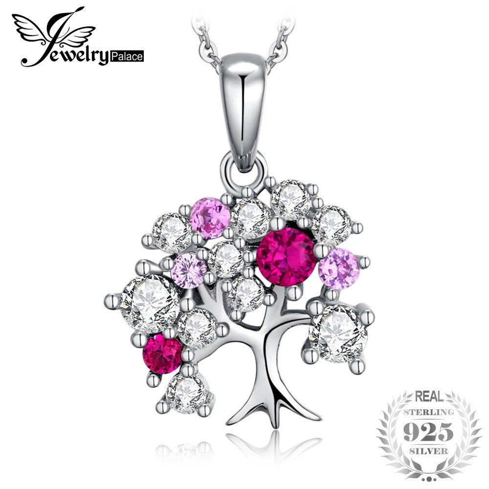 Jewelrypalace July Birthstone Created Red Ruby Cubic Zirconia Tree Of Life  Women Pendant 925 Sterling Silver Not Include A Chain Pertaining To Recent Red July Birthstone Locket Element Necklaces (View 11 of 25)