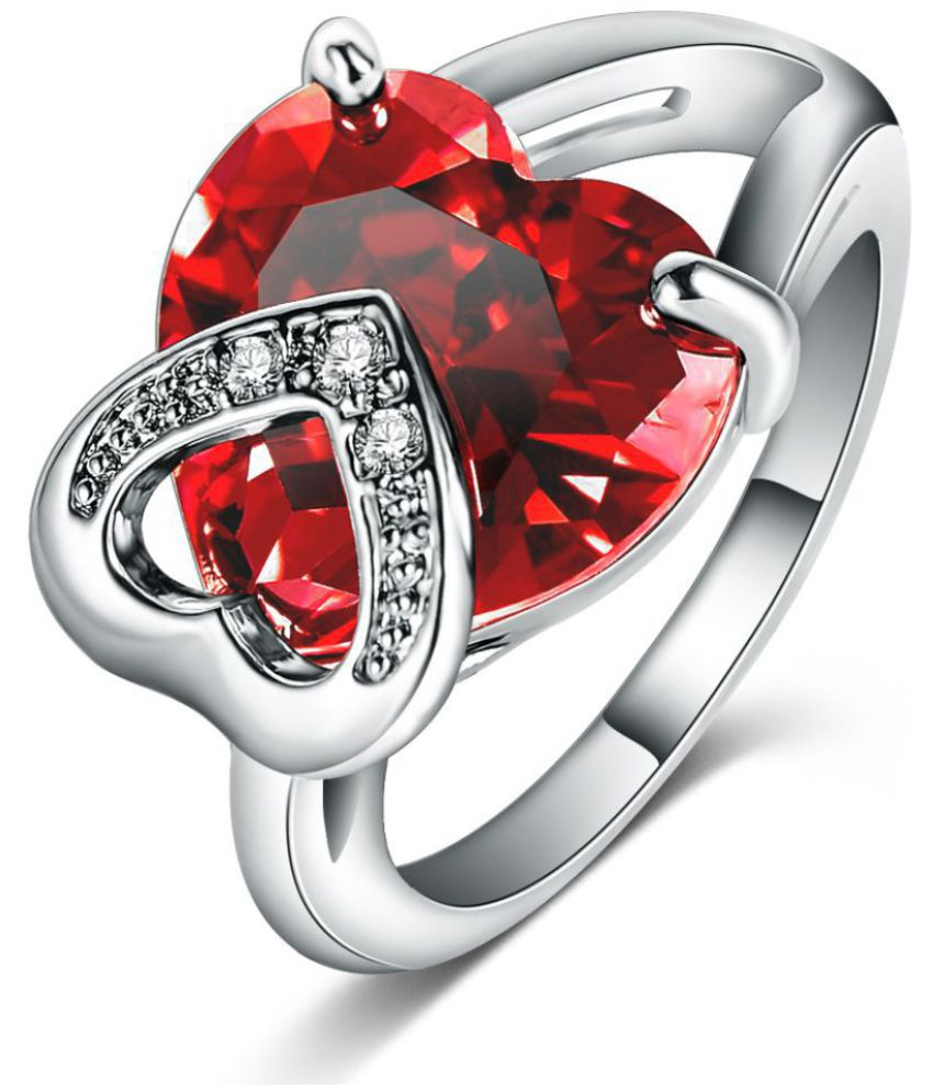 Jewels Galaxy Valentine Special Sparkling Red Love Heart Crystal Fascinating Silver Ring With Fancy Velvet Rose Ring Box For Women/girls In Recent Sparkling Red Heart Rings (View 16 of 25)