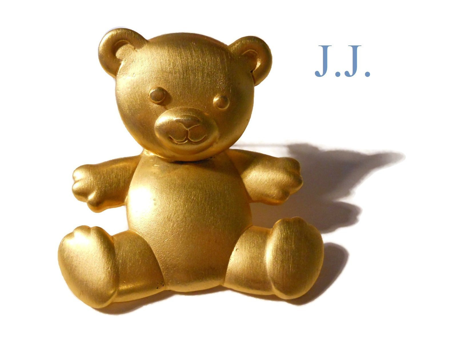 Jj Bear Brooch, Teddy Bear Pin With Articulated Head, Signed Jj For Jonette  Jewelry Co., Moveable Body, Matte Gold Tone Throughout Latest Theodore Bear Pendant Necklaces (Gallery 23 of 25)