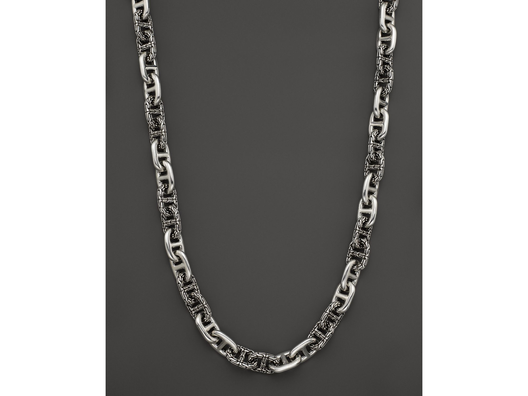 John Hardy Metallic Men's Classic Chain Silver Large Anchor Rode Link Necklace For Men In Most Up To Date Classic Anchor Chain Necklaces (View 3 of 25)