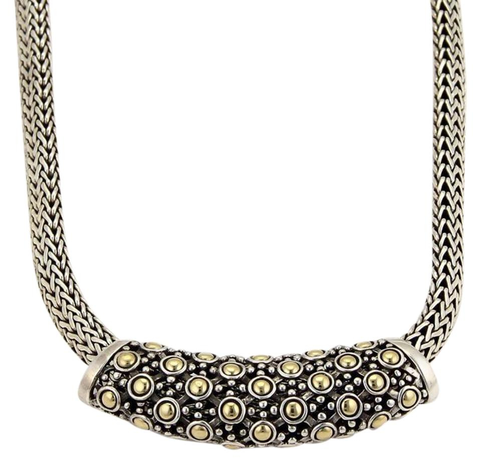 John Hardy Yellow Gold & Silver Classic 925 18K Dot Slide Pendant Woven  Necklace Pertaining To Latest Woven Fabric Choker Slider Necklaces (Gallery 3 of 25)
