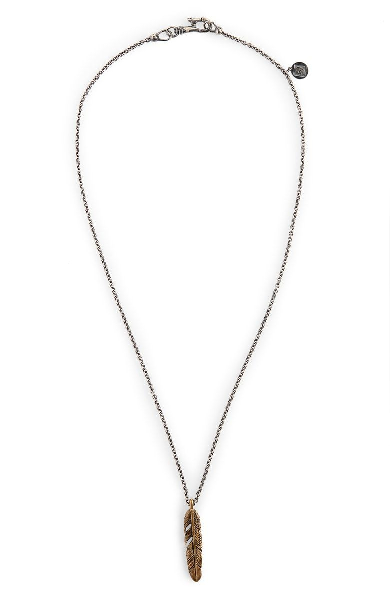 John Varvatos Single Feather Pendant Necklace (View 3 of 25)
