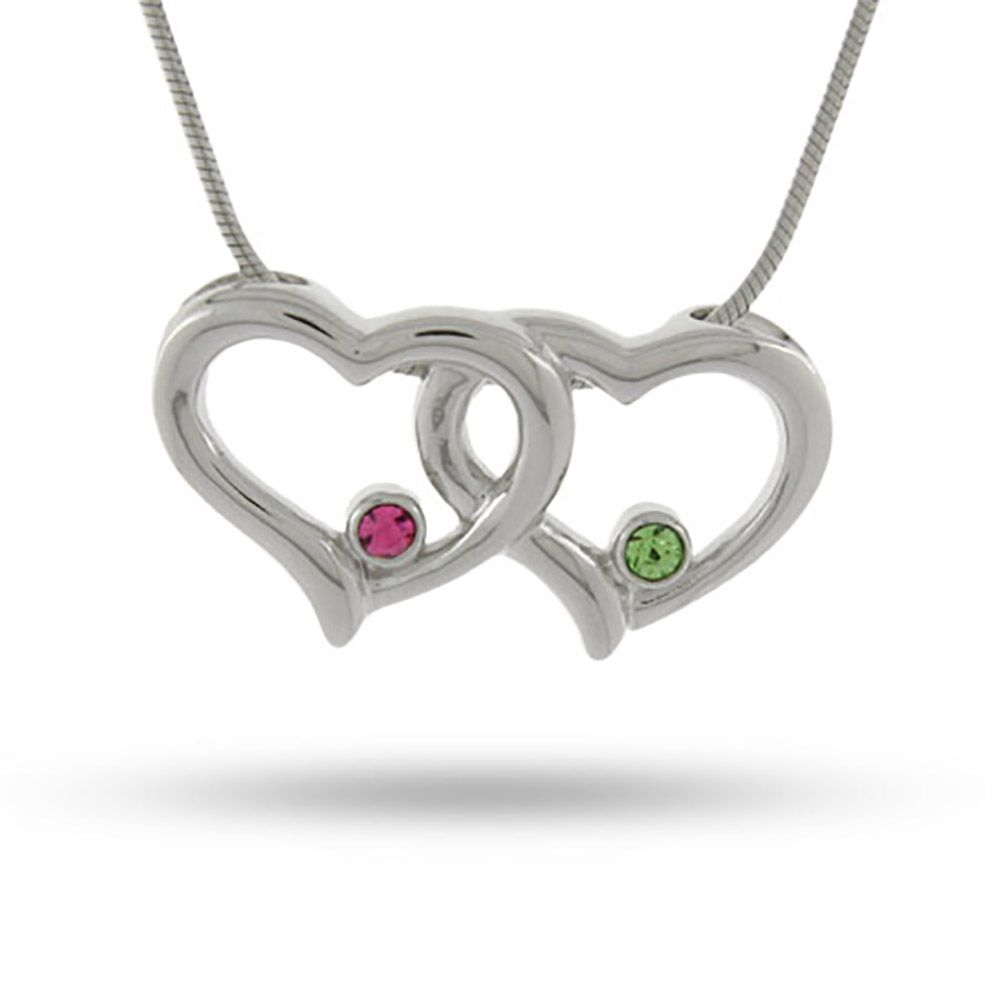 Joined Hearts Swarovski Crystal Couples Birthstone Pendant | Family For Current Joined Hearts Necklaces (View 4 of 25)