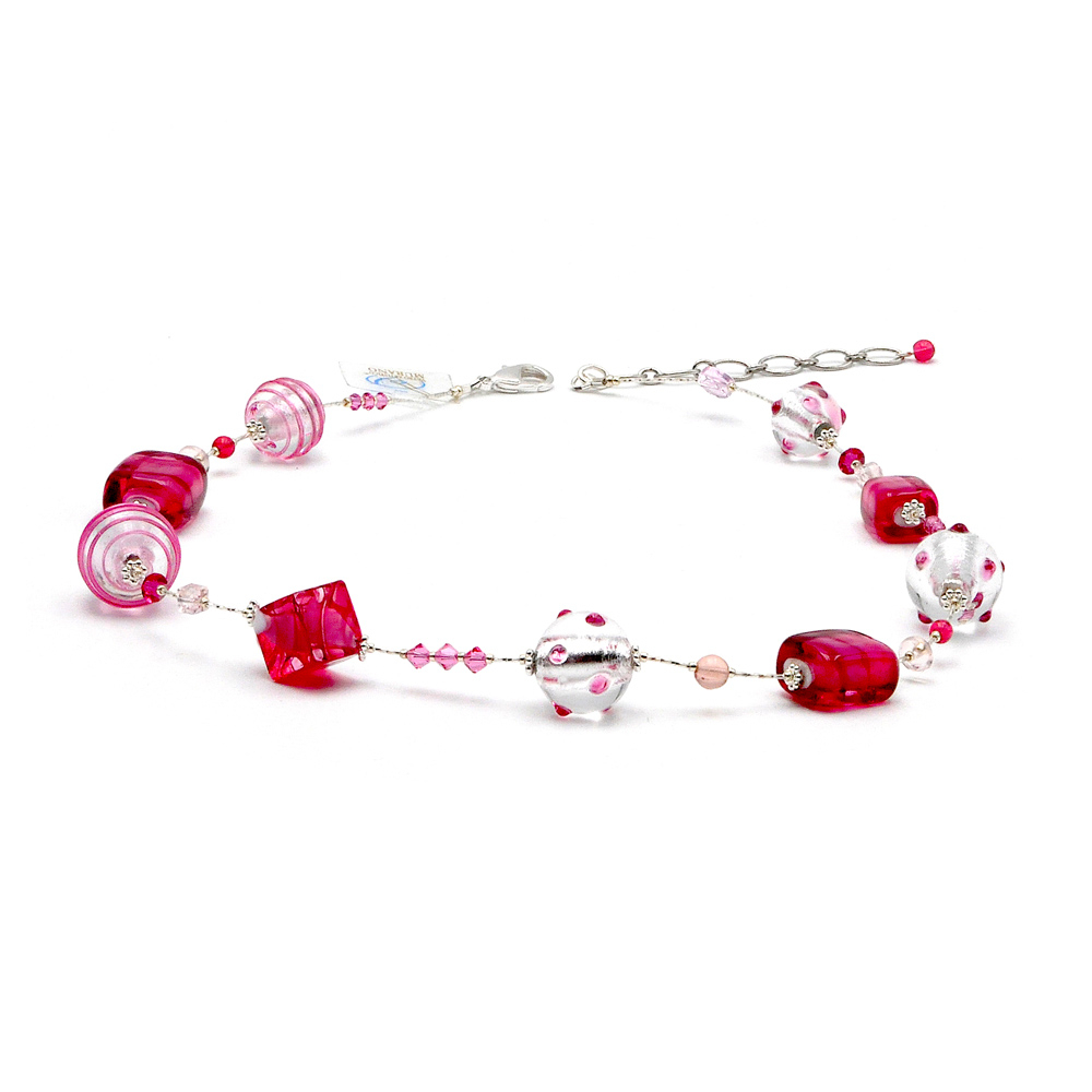 Jojo Pink And Silver – Pink Murano Glass Necklace Genuine Murano Glass Throughout Newest Pink Murano Glass Leaf Pendant Necklaces (View 6 of 25)