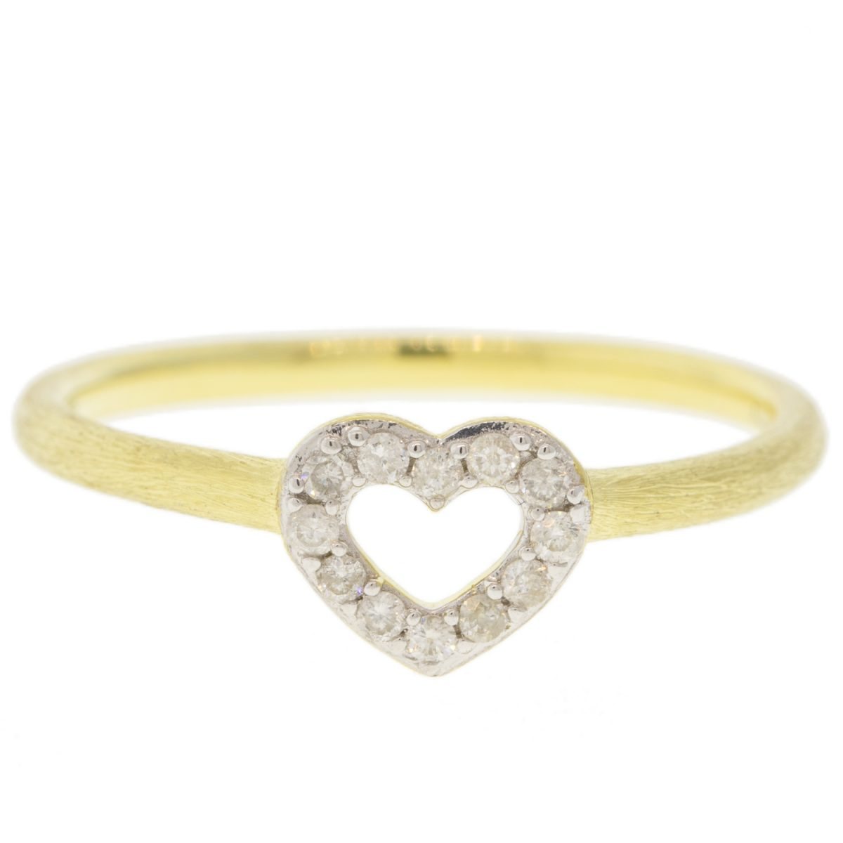 Jude Frances: Petite Pave Diamond Open Heart Band 18k Yellow Gold White Diamonds White Rhodium In Most Up To Date Pavé Hearts Band Rings (Gallery 21 of 25)
