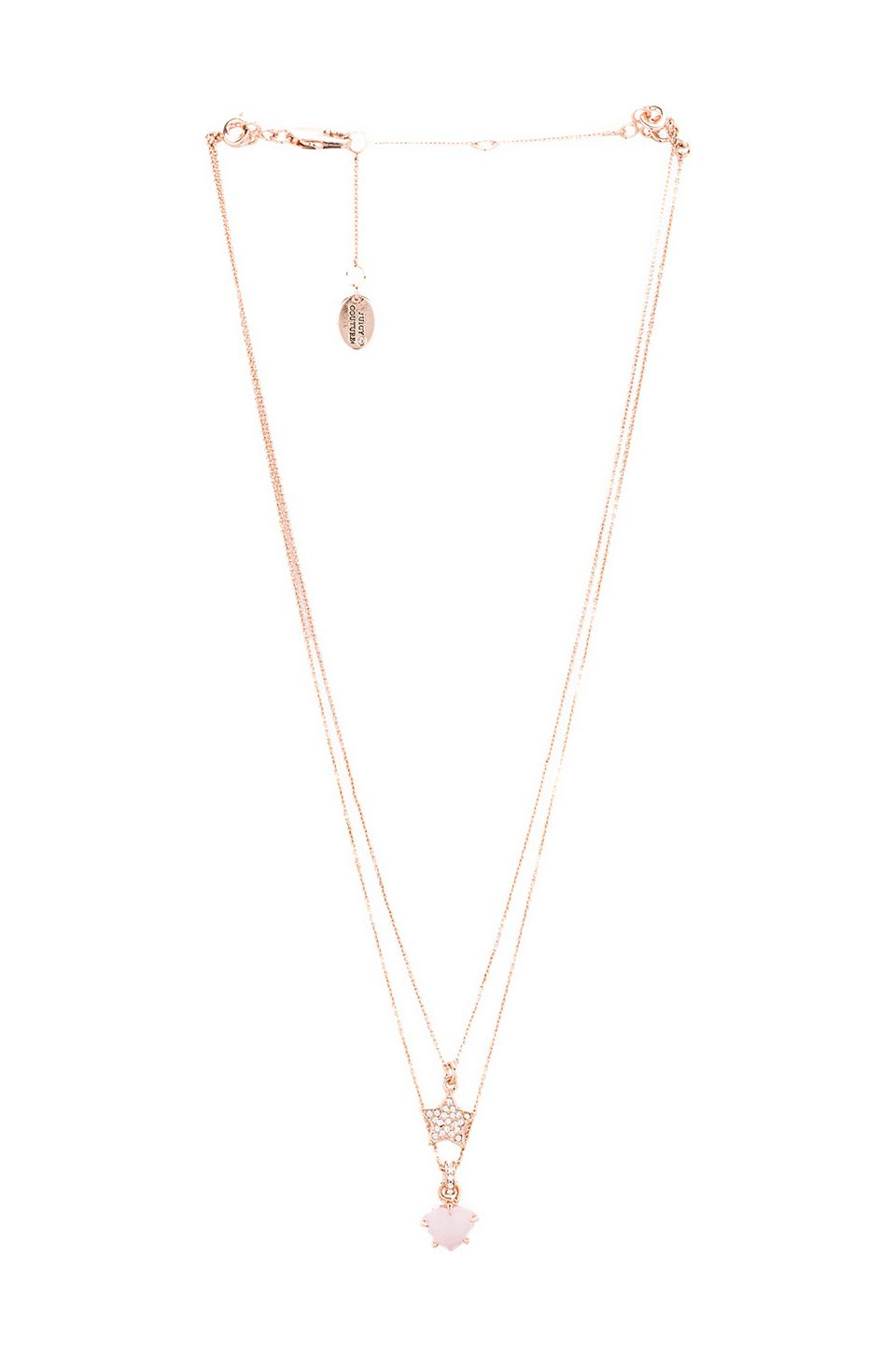 Juicy Couture Double Layer Pave Star Necklace In Rose Gold | Revolve With Regard To Best And Newest Pavé Star Locket Element Necklaces (View 8 of 25)