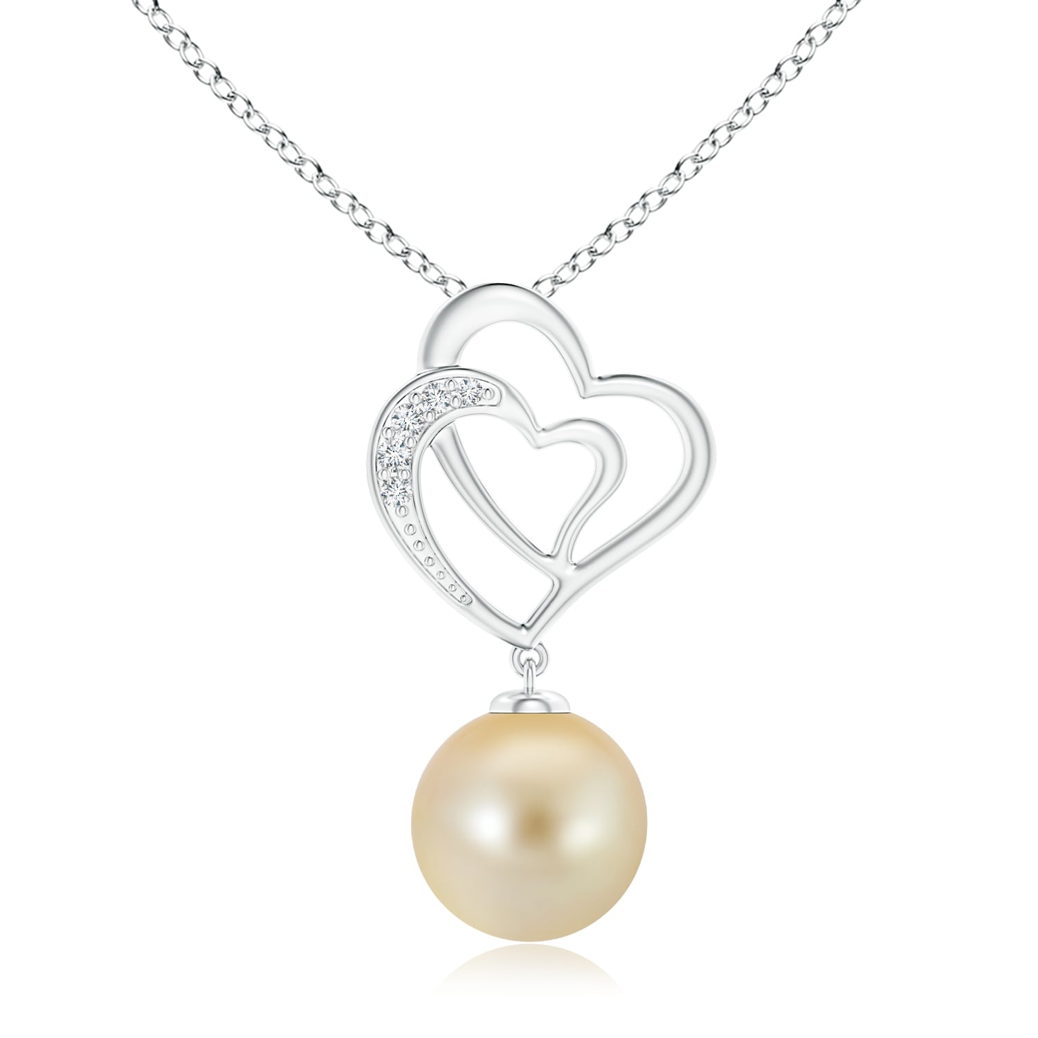 June Birthstone Pendant Necklaces – Golden South Sea Cultured Pearl  Entwined Heart Pendant In 14K White Gold (10Mm Golden South Sea Cultured  Pearl) – Regarding Most Popular Asymmetrical Heart Necklaces (View 14 of 25)