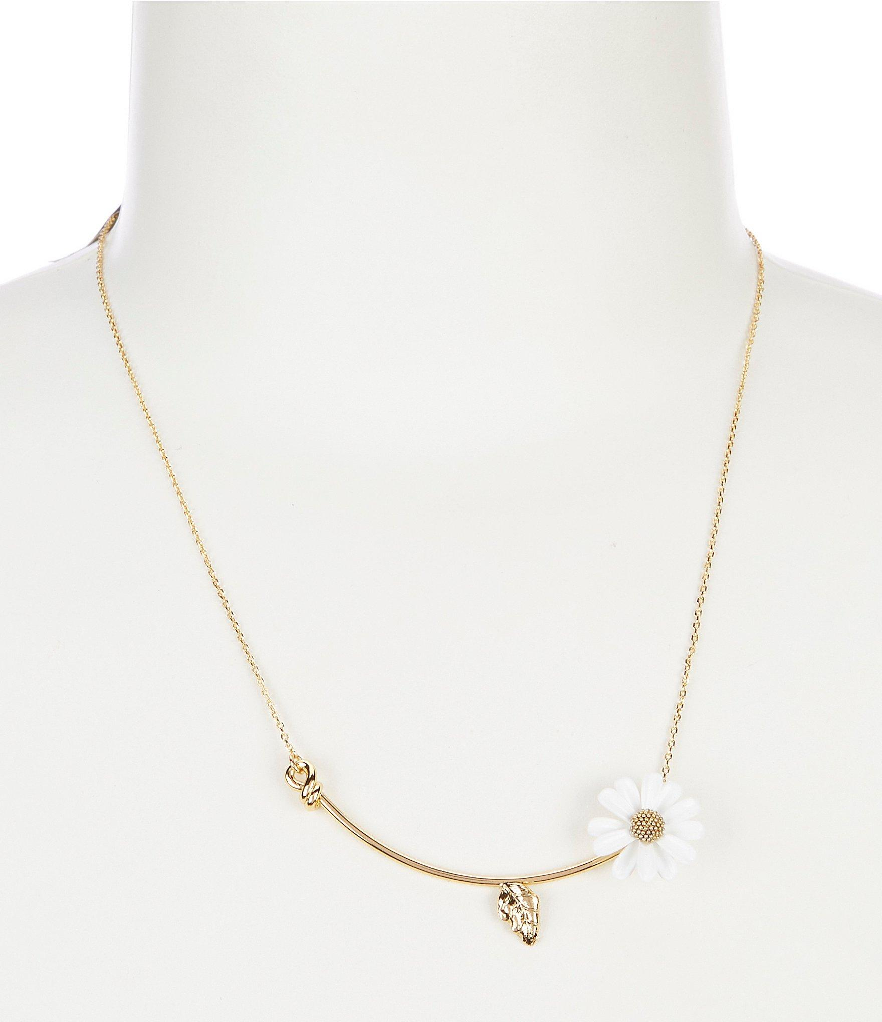 Kate Spade Into The Bloom Mini Necklace In White – Lyst Inside Most Popular Glorious Bloom Pendant Necklaces (View 17 of 25)