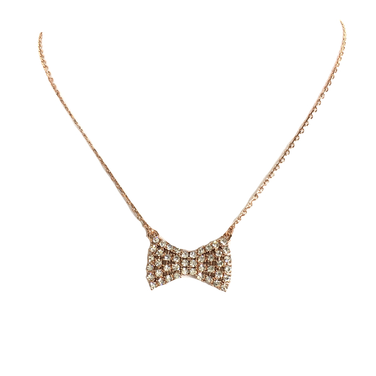 Kate Spade Sparkling Bow Pendant Necklace, Rose Gold For Most Up To Date Sparkling Bow Necklaces (View 8 of 25)