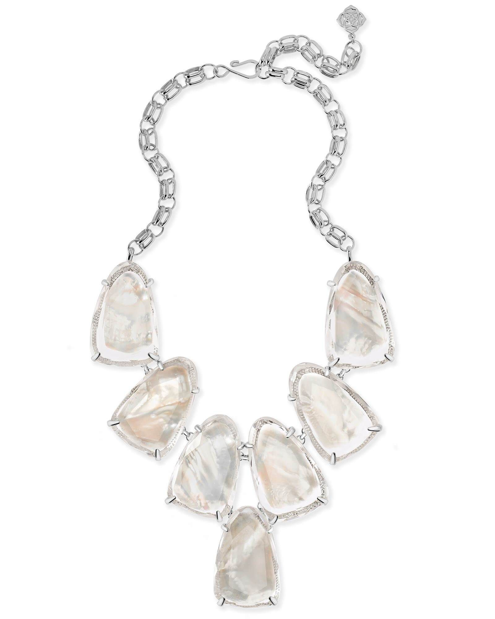 Kendra Scott: Harlow Silver Statement Necklace In Suspended Ivory With Current Rock Crystal April Droplet Pendant Necklaces (View 16 of 25)