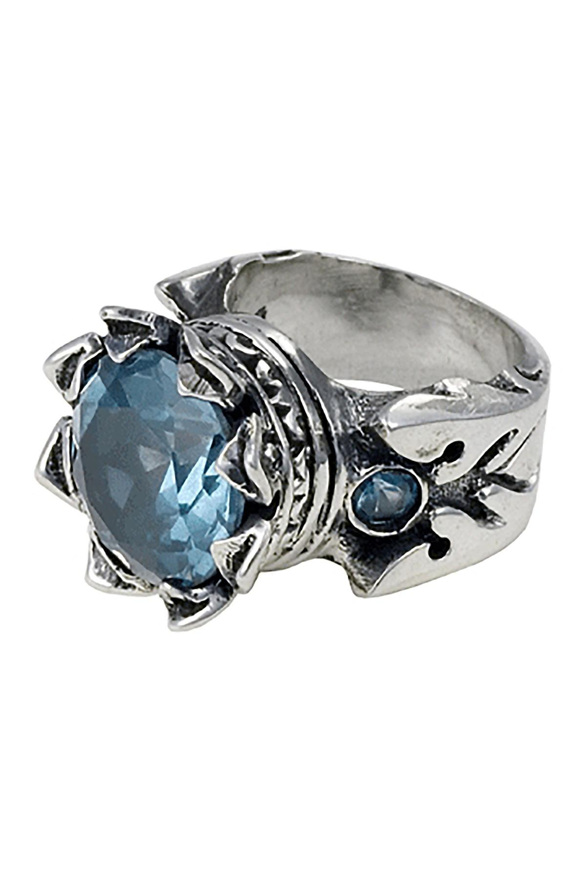 King Baby Studio Sterling Silver Light Blue Cz Crown Ring For Current Blue Sparkling Crown Rings (Gallery 11 of 25)