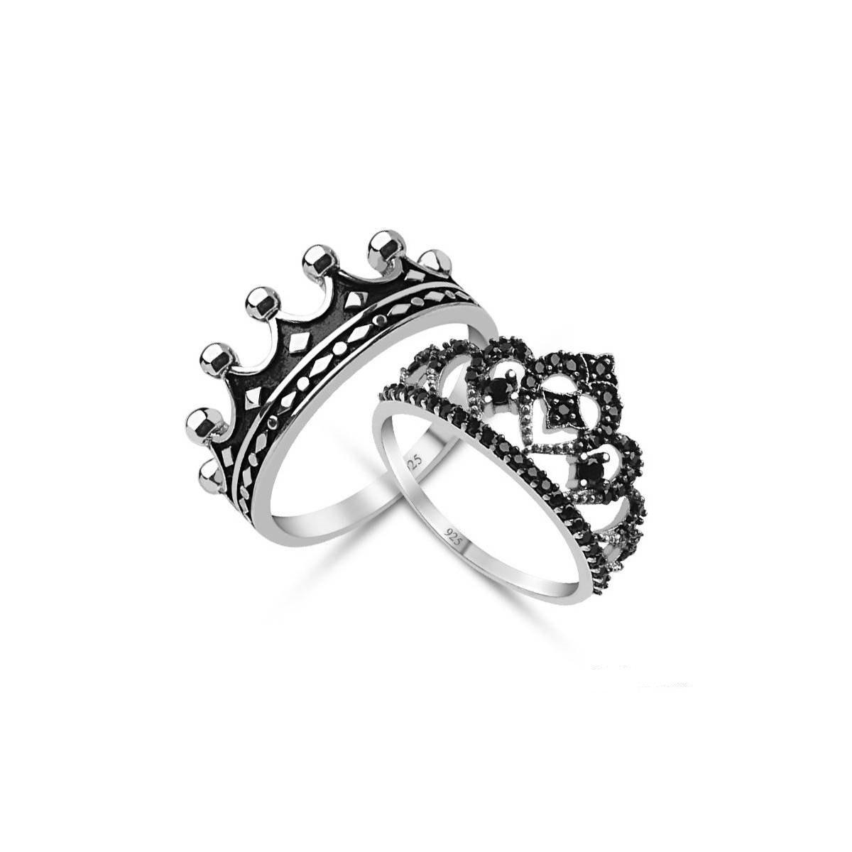 King & Queen,crown Ring Set,18K Gold Plated Silver Crown Ring Set,tiara  Rings,mens Crown Ring,princess Crownd Ring,crown Band Regarding Recent Princess Tiara Crown Rings (Gallery 23 of 25)