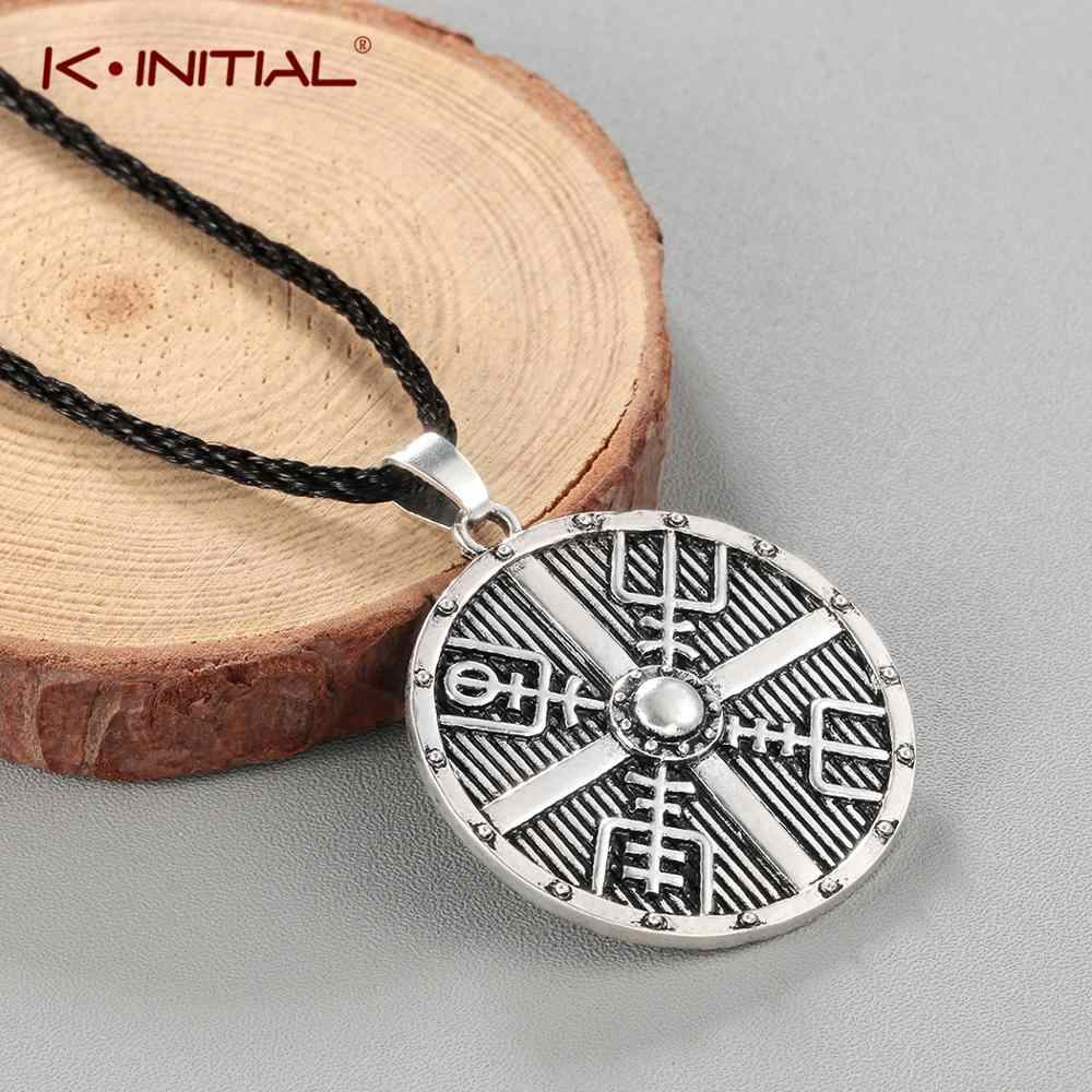 Kinitial Viking Men Retro Vegvisir Cross Horror In Runic Circle In Current Vintage Circle Collier Necklaces (View 12 of 25)