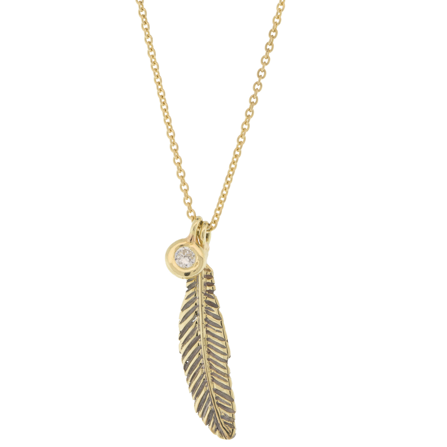 Kismet: 14K Yellow Gold Mini Raven Feather Necklace With Single White  Diamond .04Ct Intended For Best And Newest Single Feather Pendant Necklaces (Gallery 5 of 25)