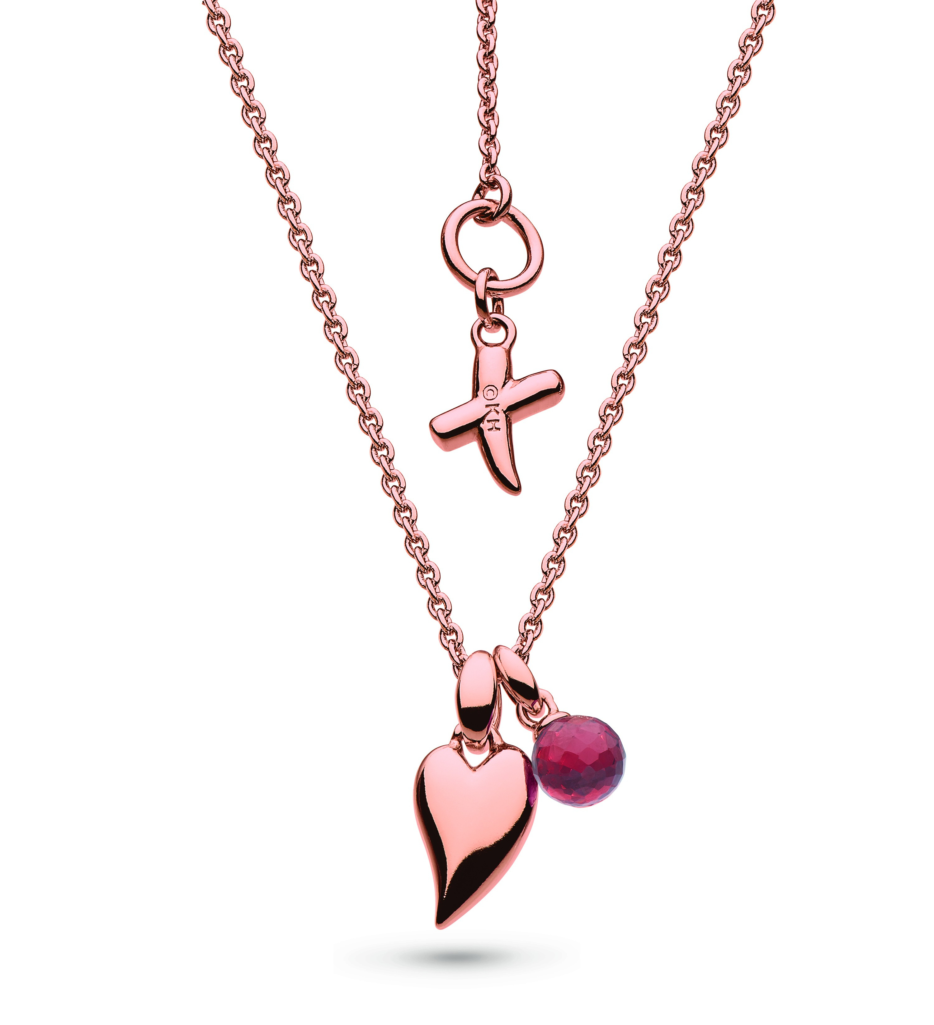 Kit Heath Desire Kiss Crush Rose Gold Plate & Mini Heart Garnet Droplet Necklace Pertaining To 2019 Garnet January Droplet Pendant Necklaces (View 15 of 25)