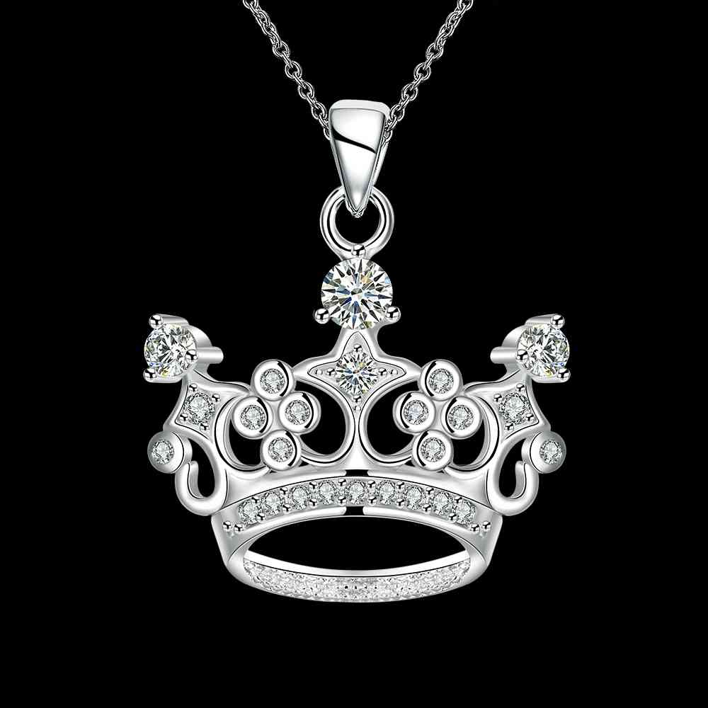 Kiteal Birthday Gift Silver Colorfemale Pendants Crown Queen's Hat Zircon  Pendant 18Inchs Necklacecrown Collier Joias Intended For Most Current Tiara Crown Collier Necklaces (Gallery 22 of 25)