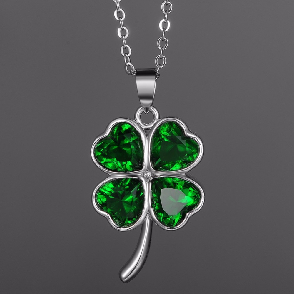 Kivn Womens Fashion Jewelry Lucky Four Leaf Clover Green Cz Cubic Regarding Newest Lucky Four Leaf Clover Pendant Necklaces (Gallery 23 of 25)