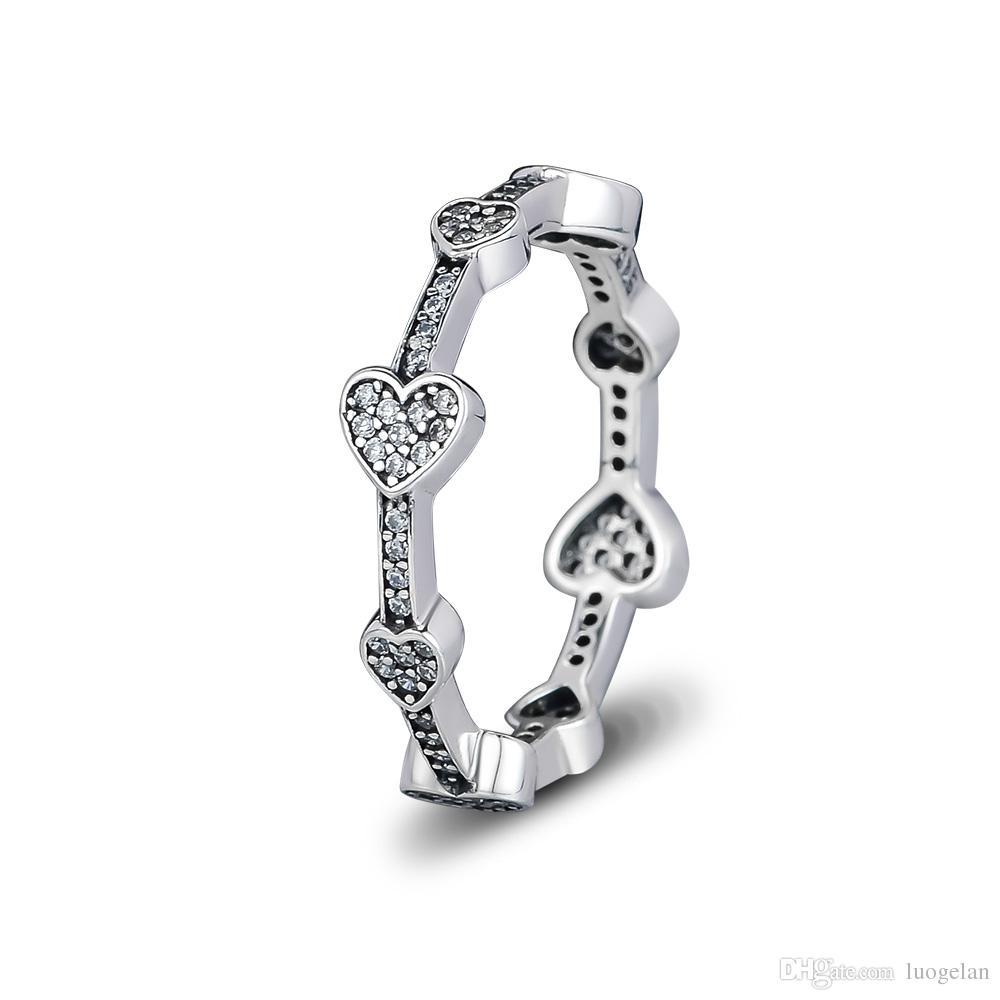 Kompatibel Mit Pandora Schmuck Ring Silber Verführerische Herzen Ringe Mit  Cz 100% 925 Sterling Silber Schmuck Großhandel Diy Für Frauen In Recent Pandora Logo & Hearts Rings (View 7 of 25)