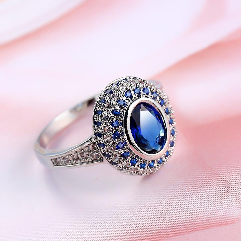 Krappenfassung Blauer Zirkon Halo Ring Weißgold Gefüllt Sparkling Wedding Womens Ring Geschenk Pertaining To 2018 Sparkling Halo Rings (View 11 of 25)