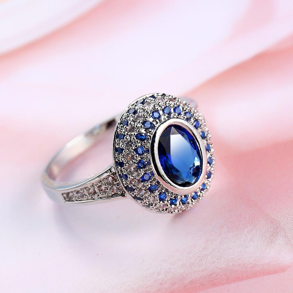 Krappenfassung Blauer Zirkon Halo Ring Weißgold Gefüllt Sparkling Wedding Womens Ring Geschenk Within Most Up To Date Sparkling Halo Rings (View 16 of 25)