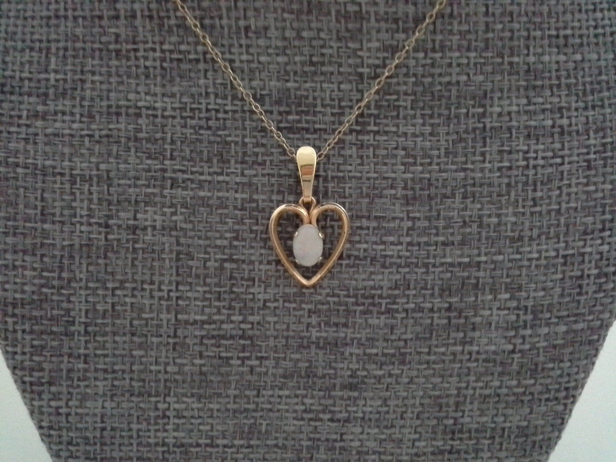 Krementz Vintage Opal And Gold Overlay Small Open Heart Necklace For Most Recently Released Baby Blue Enamel Blue Heart Petite Locket Charm Necklaces (View 8 of 25)
