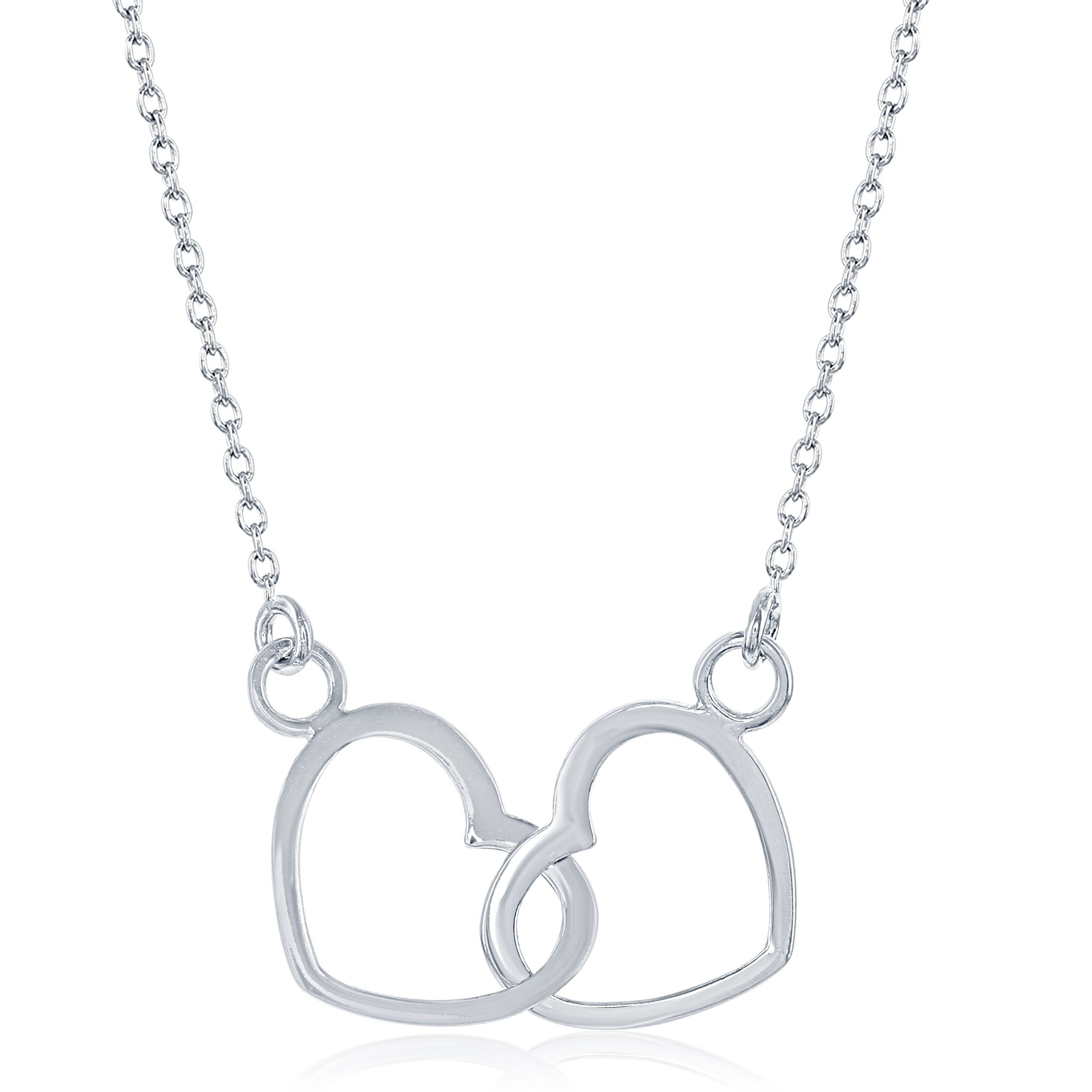 La Preciosa Sterling Silver Lightweight Interlocking Hearts Necklace Pertaining To Most Popular Interlocked Hearts Locket Element Necklaces (Gallery 15 of 25)