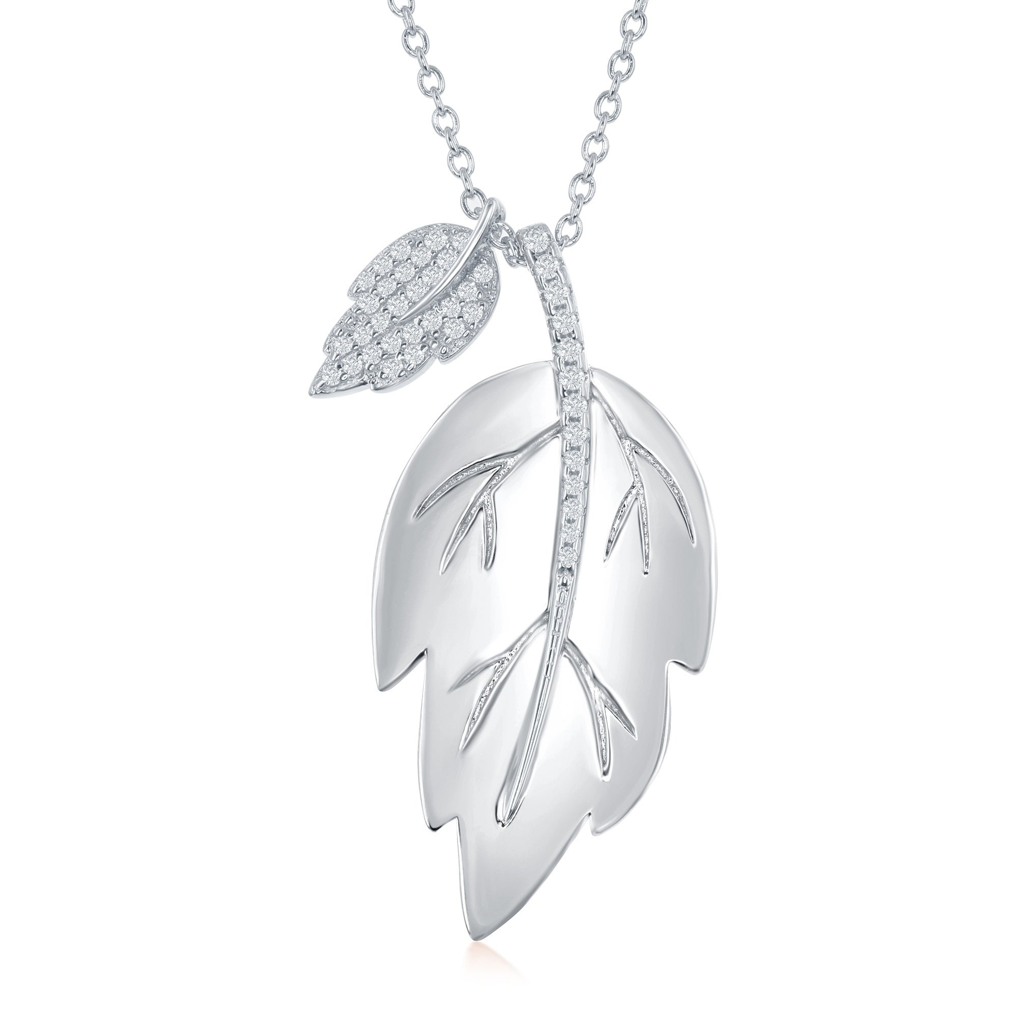 La Preciosa Sterling Silver Or Rose Gold Shiny Leaf With Smaller Rhodium  Micro Pave Leaf 16+2'' Necklace Inside Most Up To Date Shining Leaf Pendant Necklaces (Gallery 2 of 25)